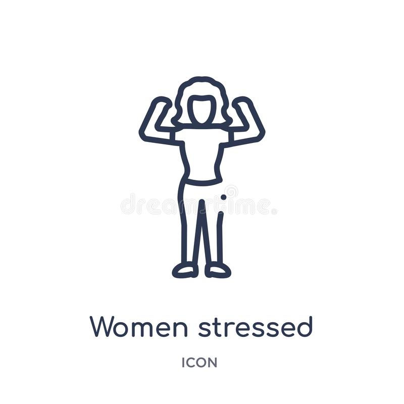 Lineare Frauen betonten Ikone von der Damenentwurfssammlung Dünne Linie Frauen betonte die Ikone, die auf weißem Hintergrund loka vektor abbildung