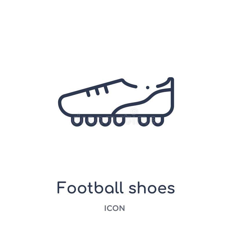 Lineare Fußballschuhikone von der Fußballentwurfssammlung Dünne Linie Fußballschuhvektor lokalisiert auf weißem Hintergrund vektor abbildung