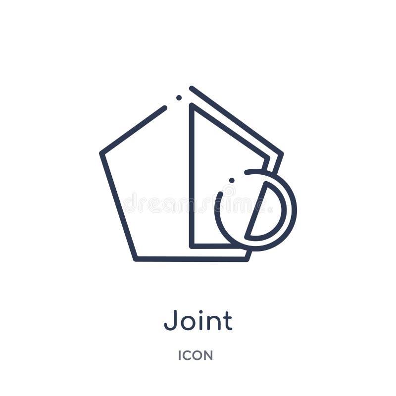 Lineare gemeinsame Ikone von der geometrischen Zahl Entwurfssammlung Dünne Linie gemeinsame Ikone lokalisiert auf weißem Hintergr lizenzfreie abbildung