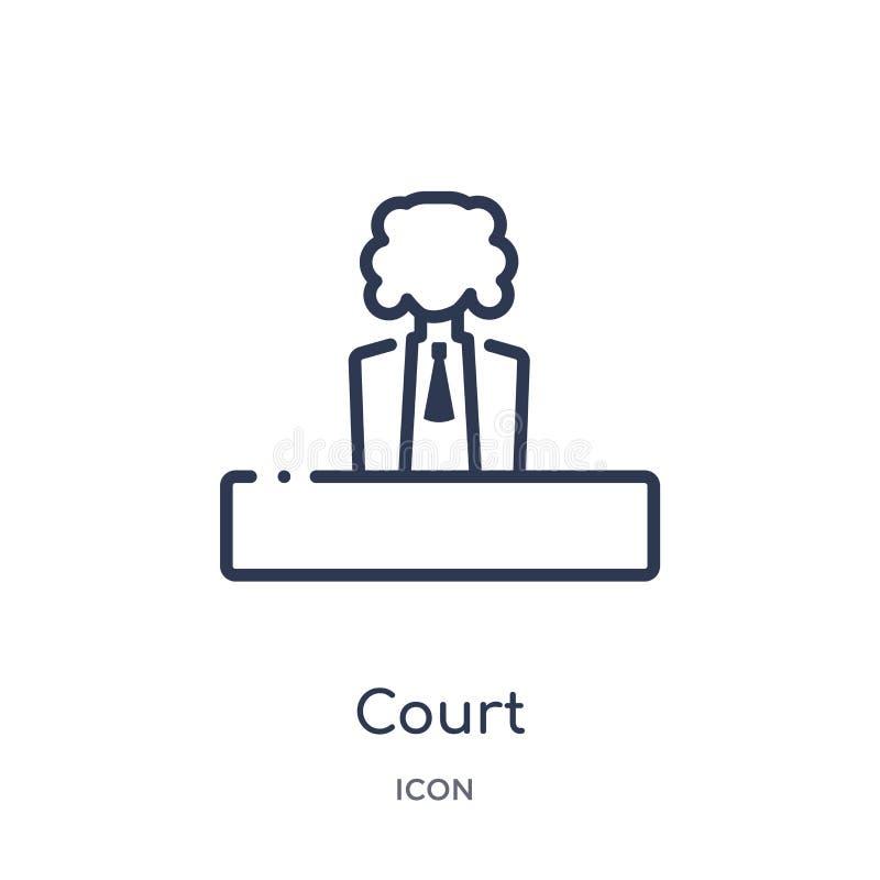 Lineare Gerichtsikone von der Gesetzes- und Gerechtigkeitsentwurfssammlung Dünne Linie Gerichtsikone lokalisiert auf weißem Hinte stock abbildung