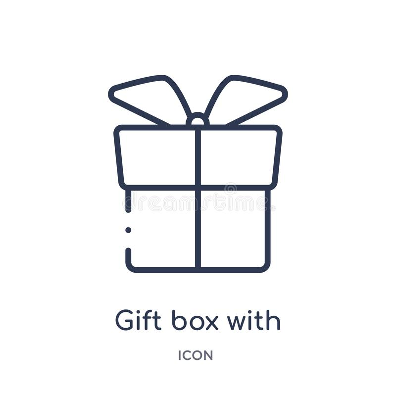 Lineare Geschenkbox mit Bandikone von der Grundzügesammlung Dünne Linie Geschenkbox mit der Bandikone lokalisiert auf weißem Hint lizenzfreie abbildung