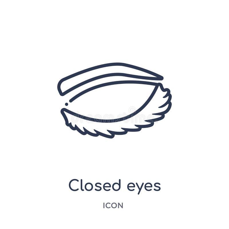 Lineare geschlossene Augen mit Peitschen und Brauenikone von der menschlichen Körperteilentwurfssammlung Dünne Linie schloss Auge vektor abbildung