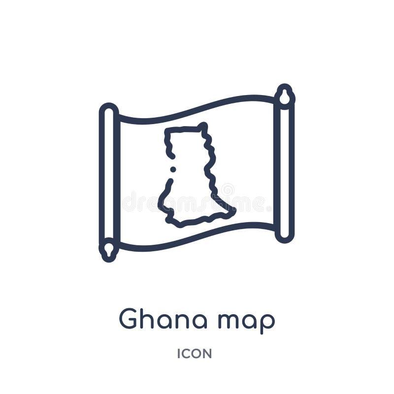 Lineare Ghana-Kartenikone von der Countrymaps-Entwurfssammlung Dünne Linie Ghana-Kartenvektor lokalisiert auf weißem Hintergrund  stock abbildung