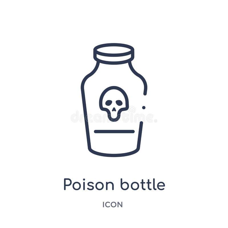 Lineare Giftflasche mit einer Schädelikone von der medizinischen Entwurfssammlung Dünne Linie Giftflasche mit einer Schädelikone  stock abbildung
