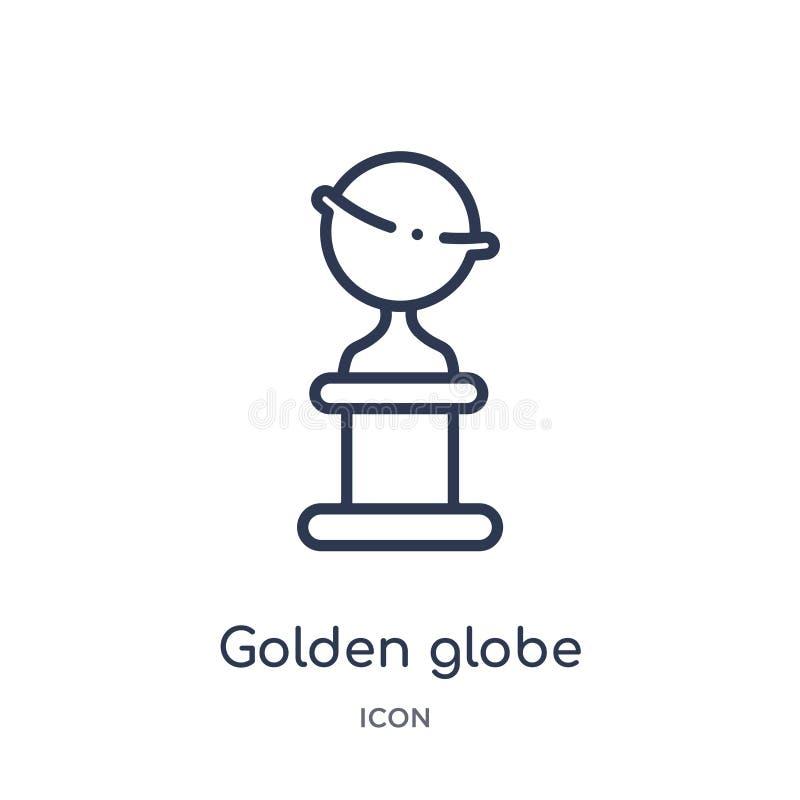 Lineare goldene Kugelikone von der Kinoentwurfssammlung Dünne Linie goldener Kugelvektor lokalisiert auf weißem Hintergrund Golde vektor abbildung