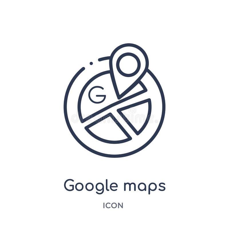 Lineare Google- Mapsikone vom Karten- und Flaggenentwurf Sammlung Dünne Linie Google- Mapsikone lokalisiert auf weißem Hintergrun stock abbildung