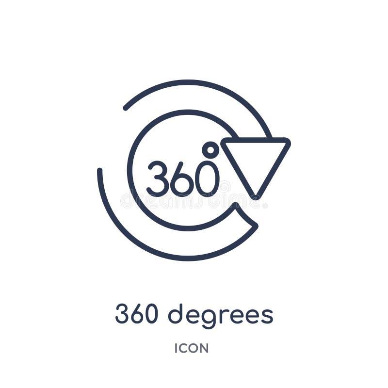 Lineare 360 Grad Ikone von der Entwurfssammlung der künstlichen Intelligenz Dünne Linie 360 Grad Vektor lokalisiert auf weißem Hi vektor abbildung