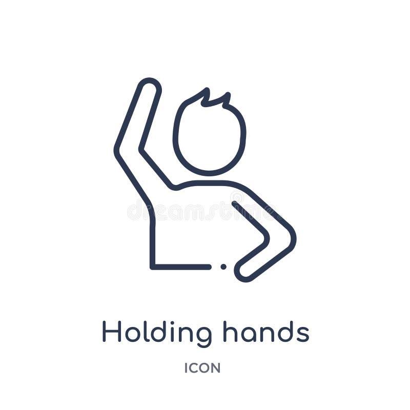 Lineare Händchenhaltenikone von der Gestenentwurfssammlung Dünne Linie Händchenhaltenikone lokalisiert auf weißem Hintergrund hol stock abbildung