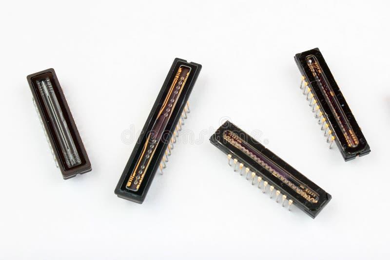 Lineare ha fatto pagare il CCD dei dispositivi coppia, chip del sensore dell'analizzatore per scansione fotografie stock