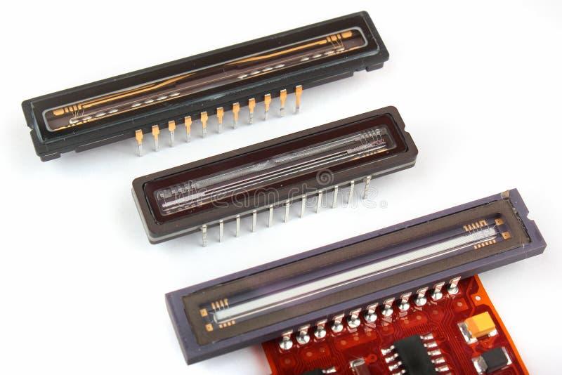 Lineare ha fatto pagare il CCD dei dispositivi coppia, chip ottici del sensore dagli analizzatori fotografie stock libere da diritti