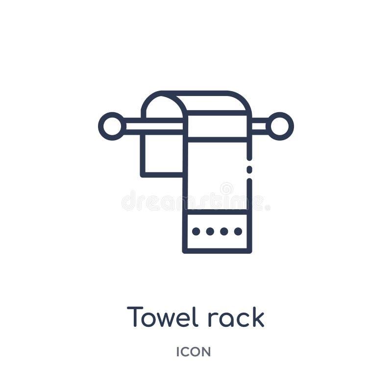 Lineare Handtuchhalterikone von der verschiedenen Entwurfssammlung Dünne Linie Handtuchhalterikone lokalisiert auf weißem Hinterg vektor abbildung