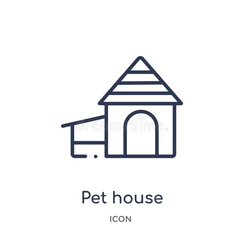 Lineare Haustierhausikone von der Möbel- u. Haushaltsentwurfssammlung Dünne Linie Haustierhausikone lokalisiert auf weißem Hinter stock abbildung