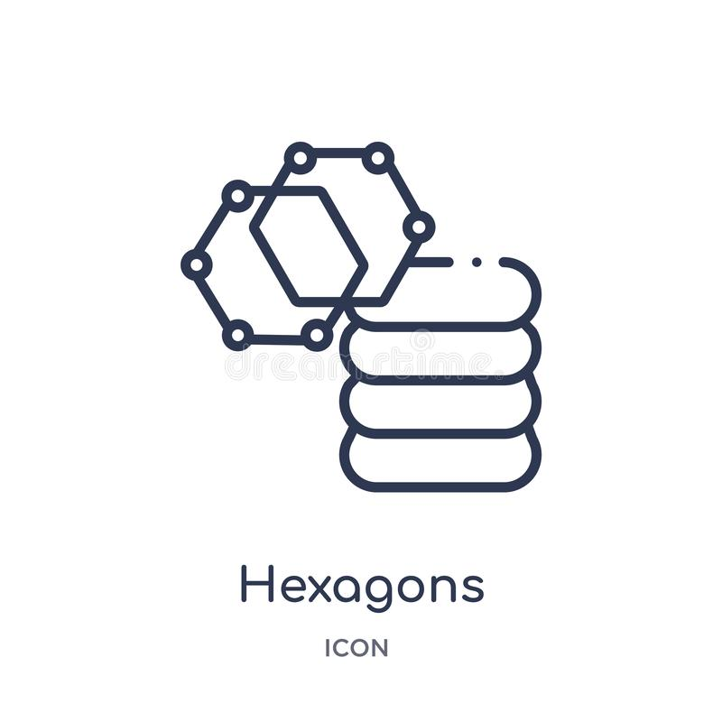 Lineare Hexagonikone von der Entwurfssammlung der künstlichen Intelligenz Dünne Linie Hexagonvektor lokalisiert auf weißem Hinter lizenzfreie abbildung