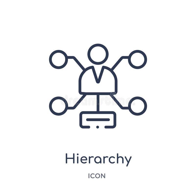 Lineare Hierarchieikone von der Geschäfts- und Analyticsentwurfssammlung Dünne Linie Hierarchievektor lokalisiert auf weißem Hint lizenzfreie abbildung