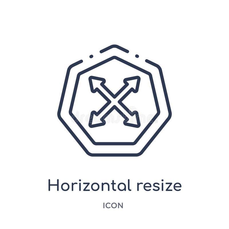 Lineare horizontale bestimmen Ikone von der Pfeilentwurfssammlung die Größe neu Die dünne Linie, die horizontal ist, bestimmen de vektor abbildung