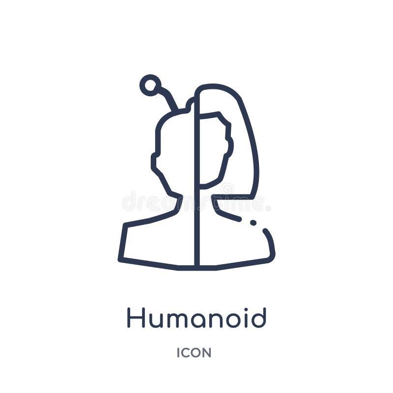 Lineare humanoid Ikone vom künstlichen intellegence und von der zukünftigen Technologieentwurfssammlung Dünne Linie humanoid Vekt stock abbildung