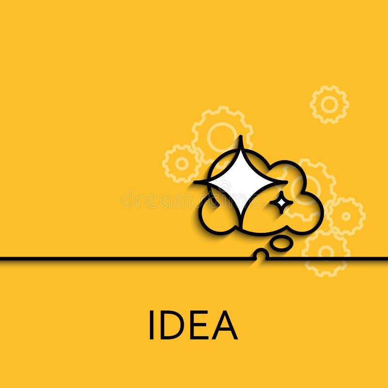 Lineare Idee der Vektorgeschäfts-Illustration als Stern- und Wolkenfahne stock abbildung