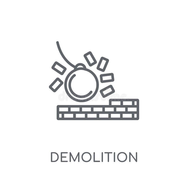 Lineare Ikone der Demolierung Modernes Entwurf Demolierungs-Logokonzept O stock abbildung