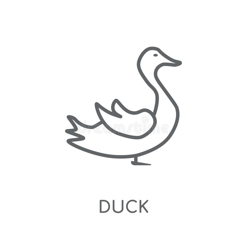 Lineare Ikone der Ente Modernes Entwurf Enten-Logokonzept auf weißer Rückseite lizenzfreie abbildung