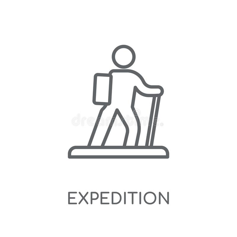 lineare Ikone der Expedition Modernes Entwurfsexpeditions-Logokonzept O vektor abbildung