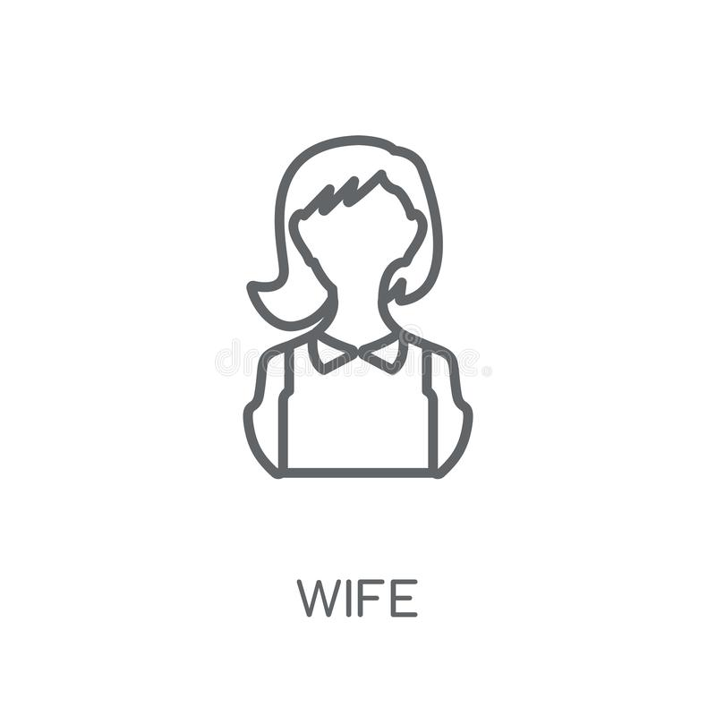 lineare Ikone der Frau Modernes Entwurfsfrau-Logokonzept auf weißer Rückseite stock abbildung
