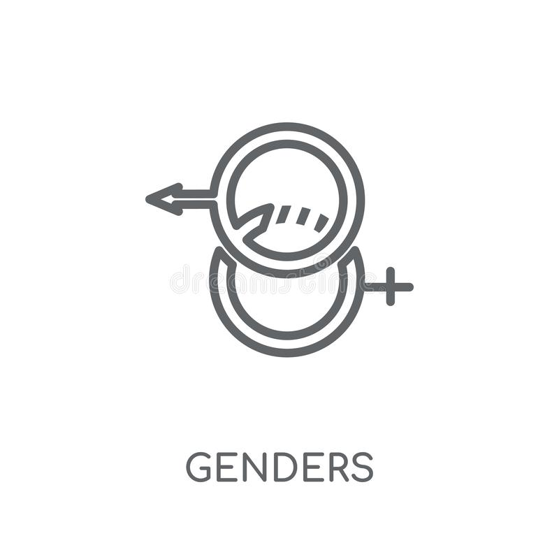 Lineare Ikone der Geschlechter Modernes Entwurf Geschlechts-Logokonzept auf Whit vektor abbildung