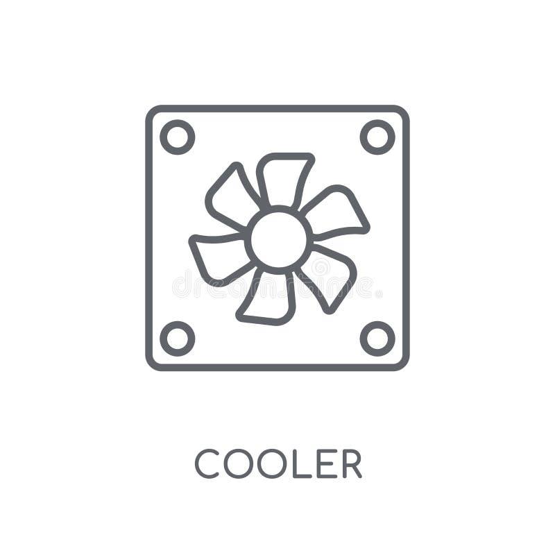 Lineare Ikone der Kühlvorrichtung Kühleres Logokonzept des modernen Entwurfs auf Weiß vektor abbildung