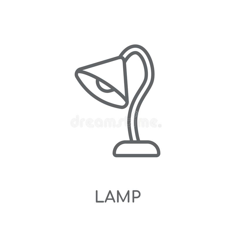 Lineare Ikone der Lampe Modernes Entwurf Lampen-Logokonzept auf weißer Rückseite stock abbildung
