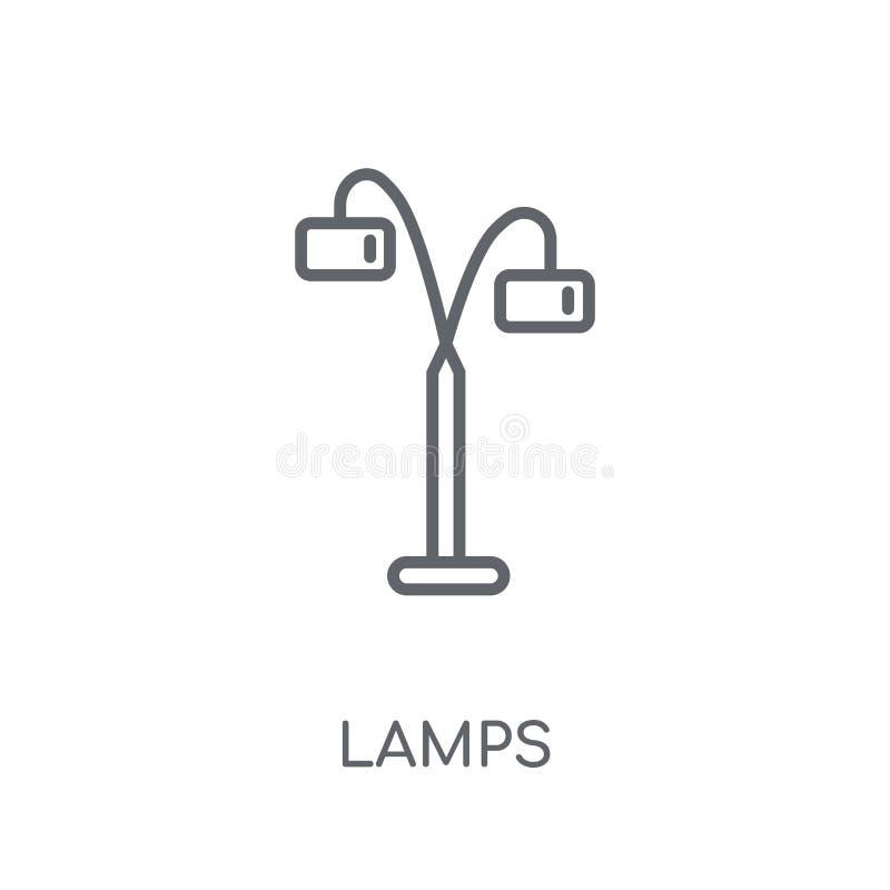 Lineare Ikone der Lampen Modernes Entwurf Lampen-Logokonzept auf weißem Ba lizenzfreie abbildung
