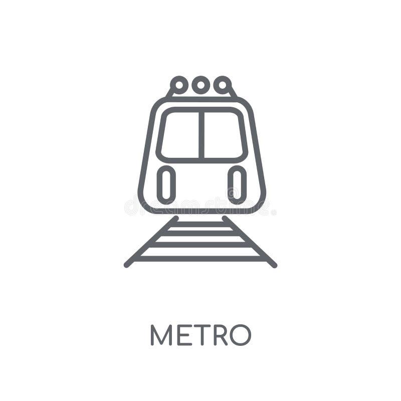 Lineare Ikone der Metros Modernes Entwurf Metro-Logokonzept auf weißem Ba lizenzfreie abbildung