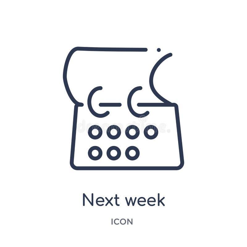 Lineare Ikone der nächsten Woche von der zufriedenen Entwurfssammlung Dünne Linie Vektor der nächsten Woche lokalisiert auf weiße vektor abbildung