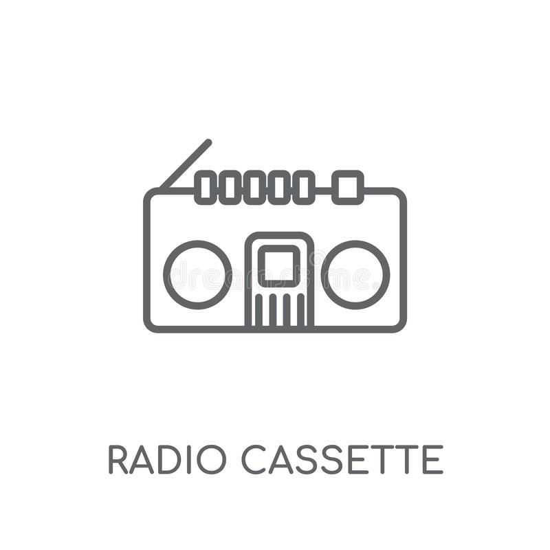 Lineare Ikone der Radiokassette Radiokassettenlogo c des modernen Entwurfs vektor abbildung