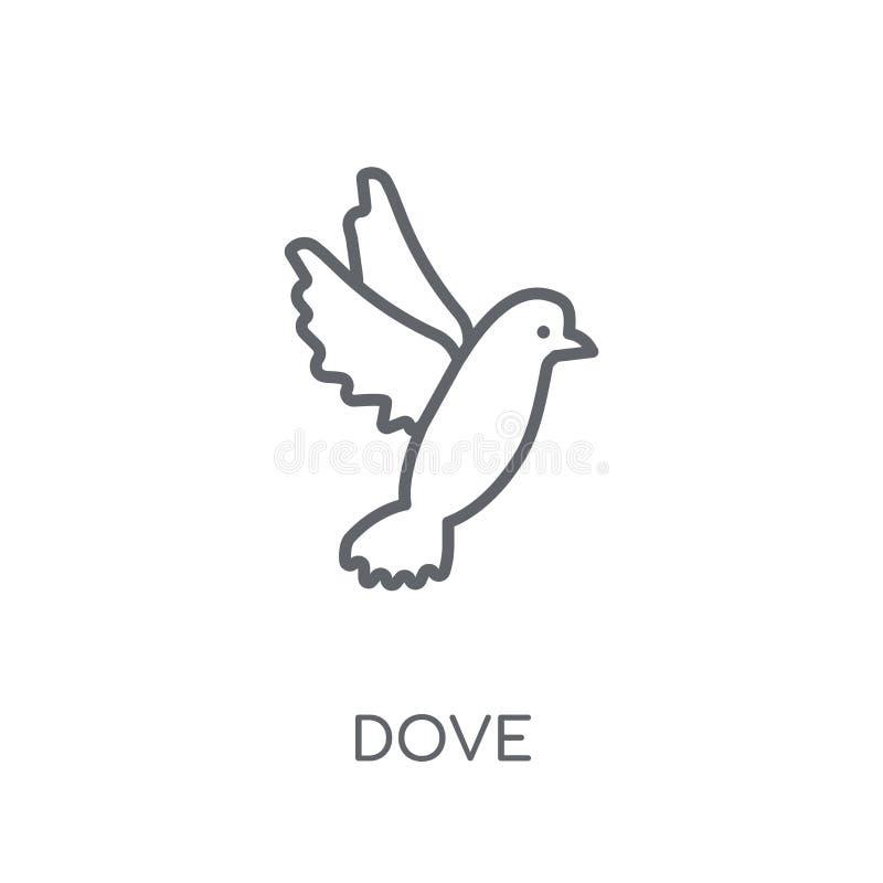 Lineare Ikone der Taube Modernes Entwurf Tauben-Logokonzept auf weißer Rückseite stock abbildung