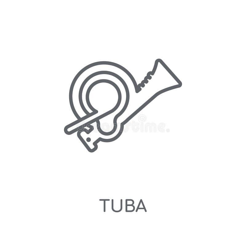 Lineare Ikone der Tuba Modernes Entwurf Tuba-Logokonzept auf weißer Rückseite stock abbildung