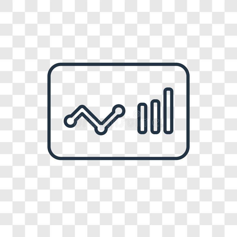 Lineare Ikone des Analyticskonzept-Vektors lokalisiert auf transparentem BAC vektor abbildung