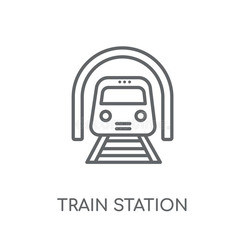 Lineare Ikone des Bahnhofs Moderner Entwurf Bahnhofs-Logobetrug lizenzfreie abbildung