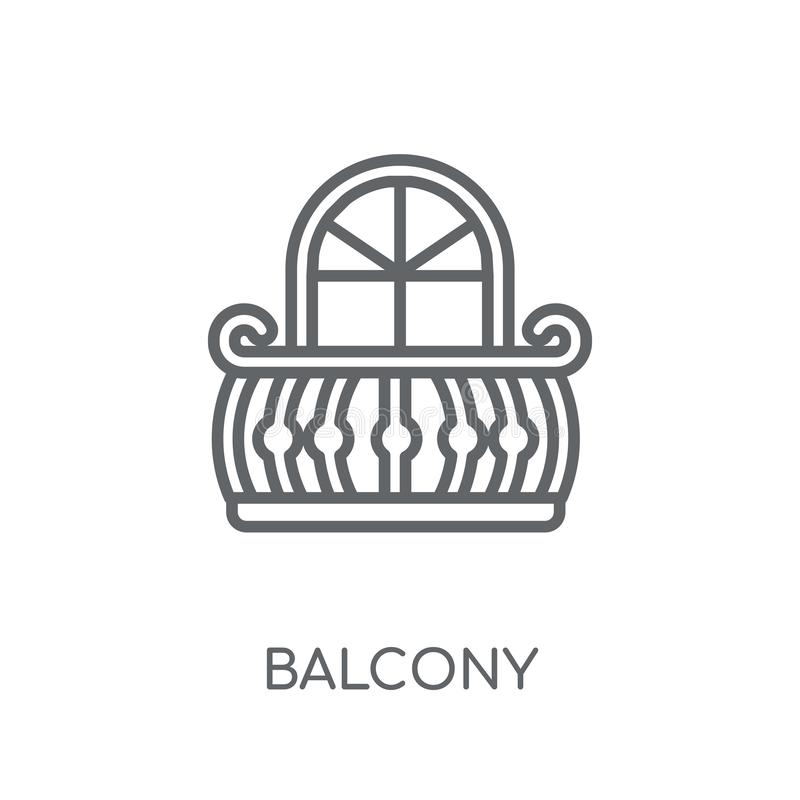 Lineare Ikone des Balkons Modernes Entwurf Balkon-Logokonzept auf Whit vektor abbildung