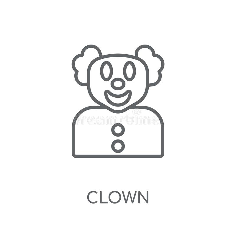 Lineare Ikone des Clowns Modernes Entwurf Clown-Logokonzept auf weißem Ba lizenzfreie abbildung