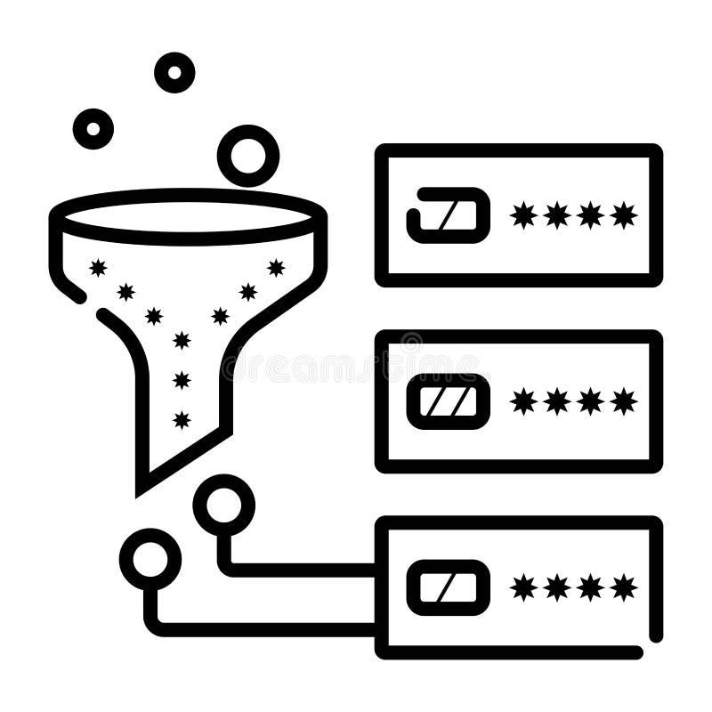 Lineare Ikone des Datenentst?rungs-Systems vektor abbildung