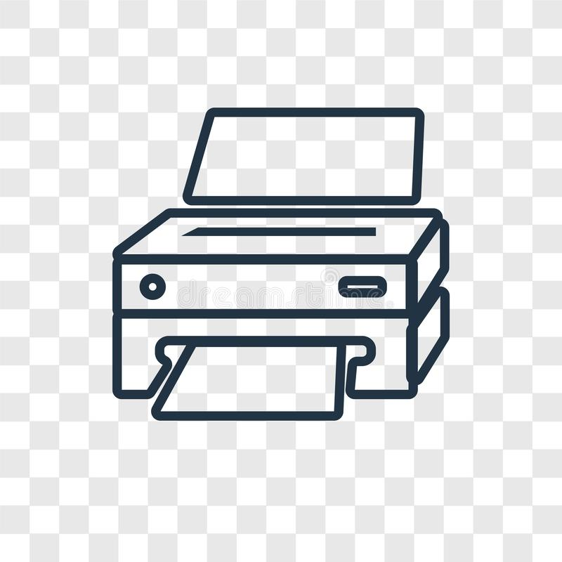 Lineare Ikone des Druckerkonzept-Vektors lokalisiert auf transparentem backg lizenzfreie abbildung