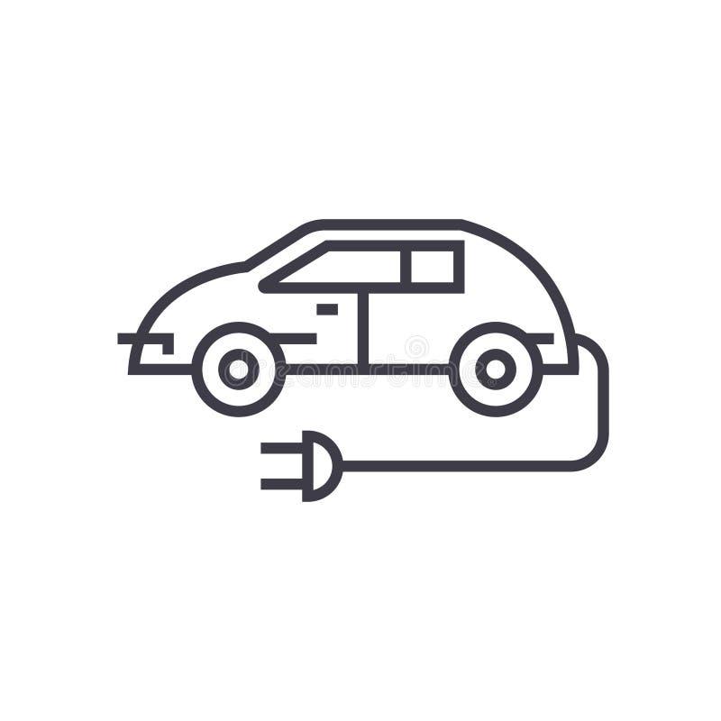 Lineare Ikone des Elektroautos, Zeichen, Symbol, Vektor auf lokalisiertem Hintergrund stock abbildung