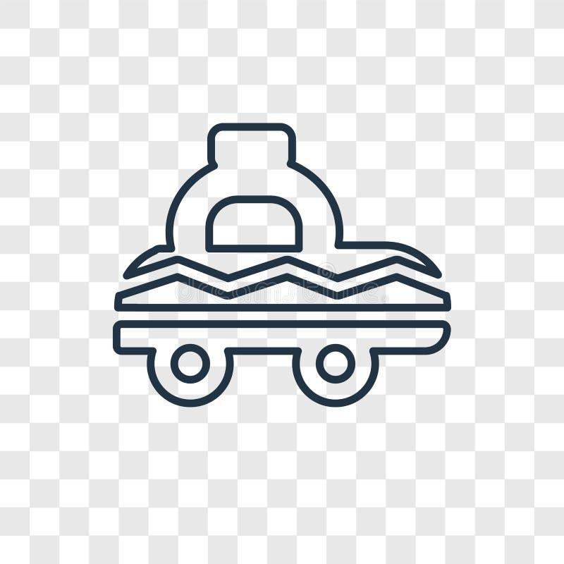 Lineare Ikone des Fahrerhauskonzept-Vektors lokalisiert auf transparentem backgroun stock abbildung