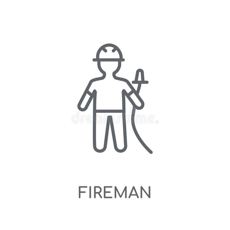 Lineare Ikone des Feuerwehrmannes Modernes Entwurf Feuerwehrmann-Logokonzept auf Whit vektor abbildung