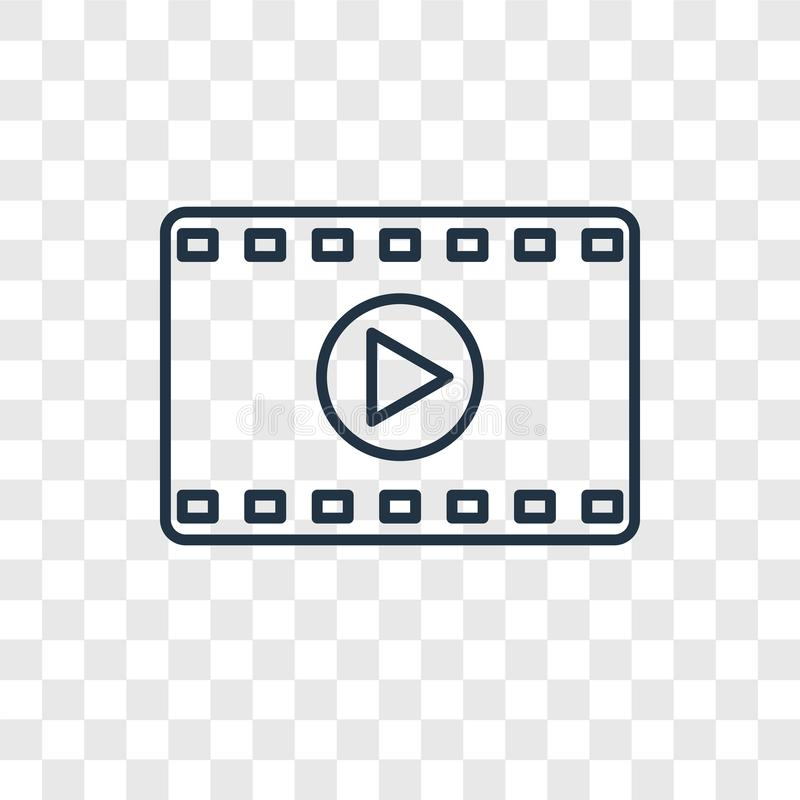 Lineare Ikone des Filmkonzept-Vektors lokalisiert auf transparentem backgro stock abbildung
