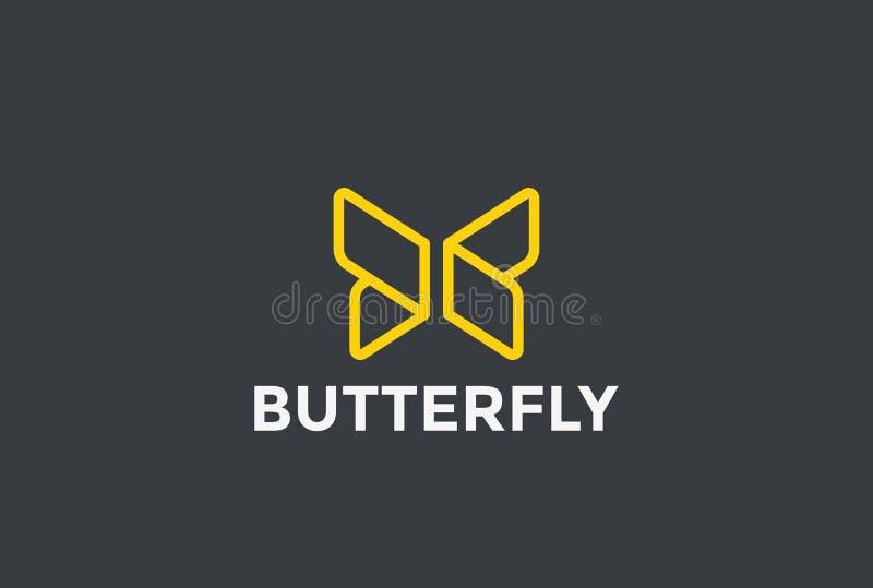 Lineare Ikone des geometrischen Designs des Schmetterlings-Logos lizenzfreie abbildung