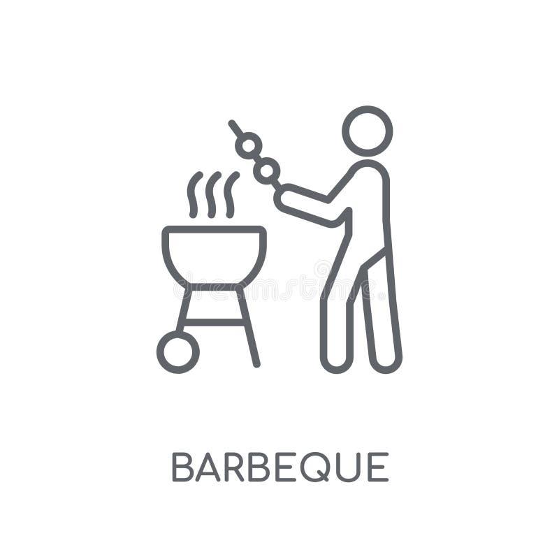 Lineare Ikone des Grills Modernes Entwurf Grill-Logokonzept auf wh lizenzfreie abbildung