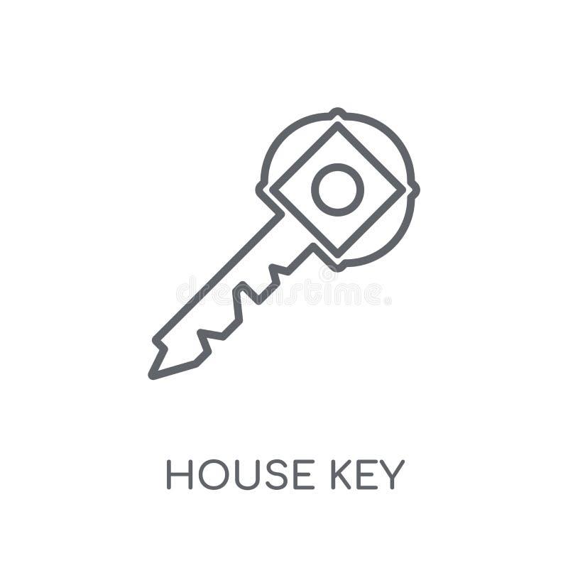 Lineare Ikone des Haus-Schlüssels Modernes Entwurf Haus-Schlüssellogokonzept an lizenzfreie abbildung