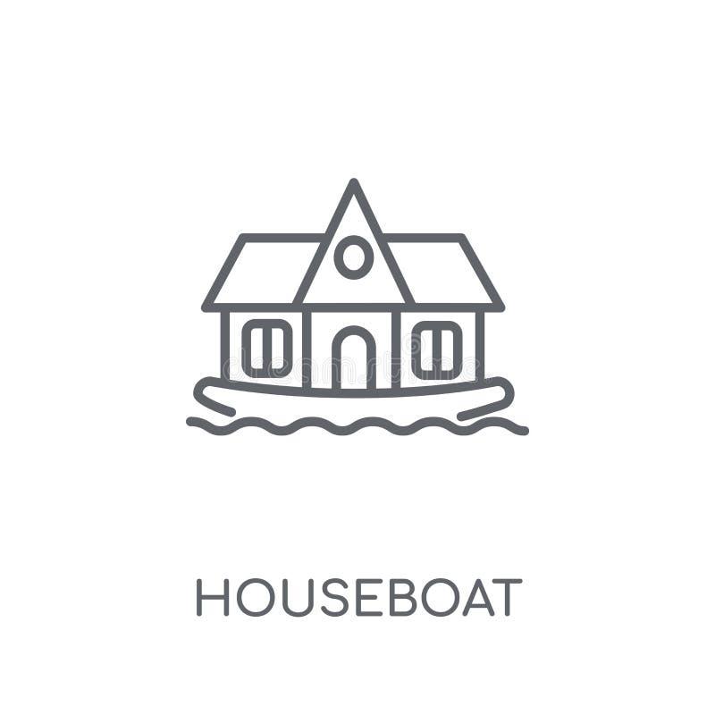 lineare Ikone des Hausbootes Modernes Entwurfshausboot-Logokonzept an stock abbildung