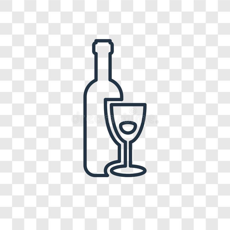 Lineare Ikone des hebräischen Weinkonzept-Vektors lokalisiert auf transparentem b lizenzfreie abbildung