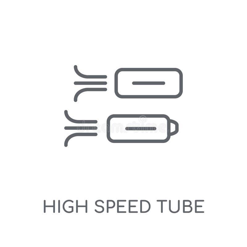 Lineare Ikone des Hochgeschwindigkeitsrohrs Hochgeschwindigkeitsrohrlogo des modernen Entwurfs lizenzfreie abbildung